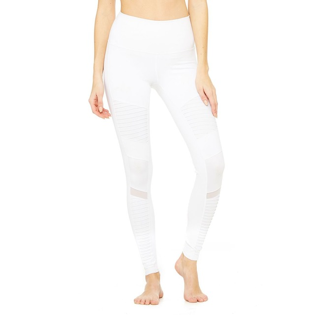 Alo Yoga High Waist Moto White/White Gloss