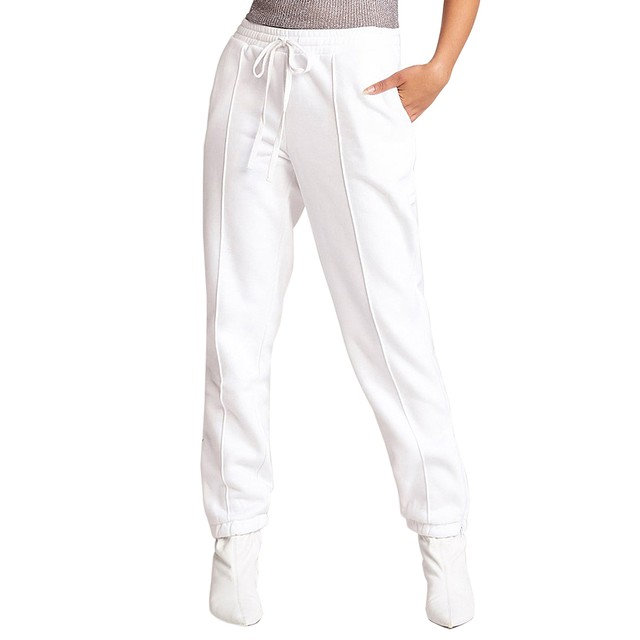 BB Dakota Hang Time Zip Hem Sweatpants Optic White