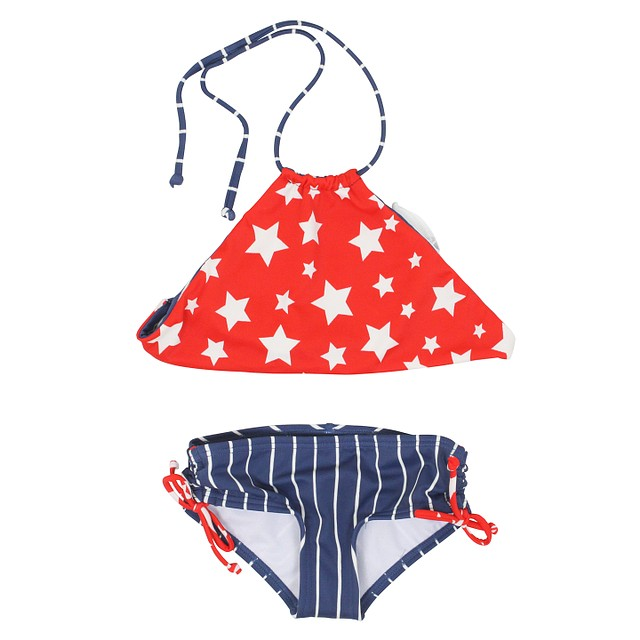 Billabong Girls Seein' Stars High Neck Set Red / Blue / White
