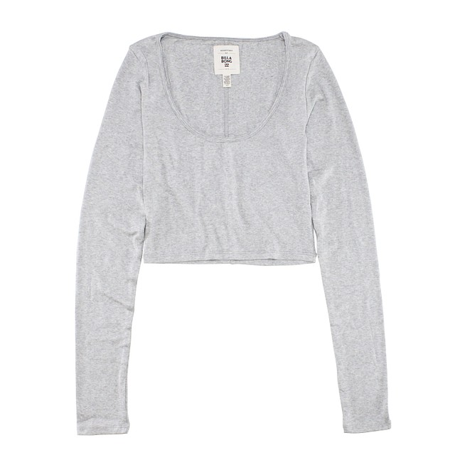 Billabong This Much Fitted Crop Athletic Grey