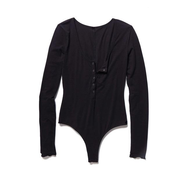 Free People Simply Henley Bodysuit Black
