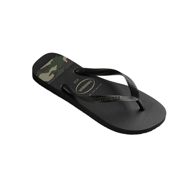 Havaianas Top Stripes Logo Black / Olive Green