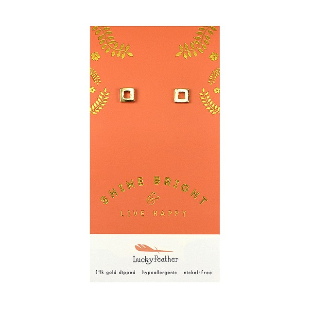 Lucky Feather Shine Bright Earrings Gold Square