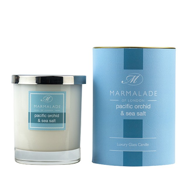Marmalade or London Glass Candle Gift Pacific Orchid and Sea Salt