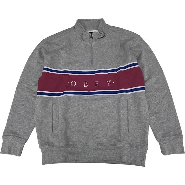 Obey Palisade Mock Neck Zip Up Heather Grey