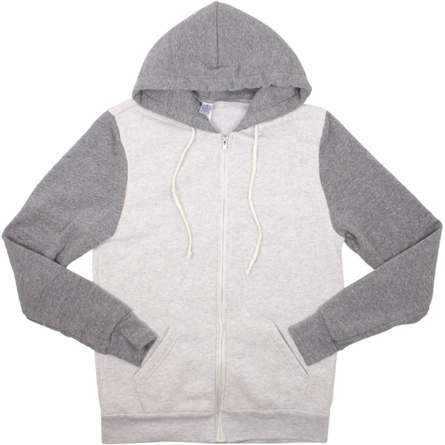 Alternative Apparel Rocky Color-Blocked Hoodie Eco Oatmeal/ Eco Grey