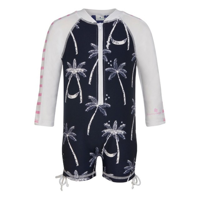 Snapper Rock Long Sleeve Sunsuit Midnight Palm Navy/White