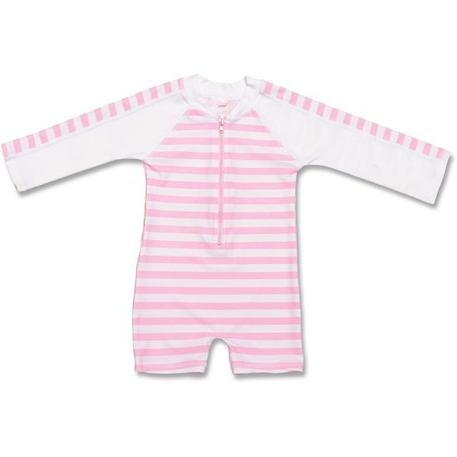 Snapper Rock Zip L/S Sunsuit French Pink/White Stripe