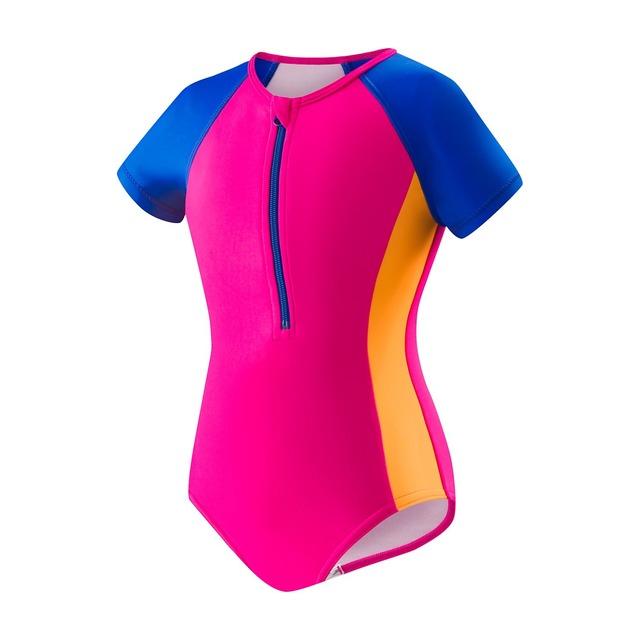 Speedo Begin to Swim Toddler Short Sleeve Zip 1pc Electric Pink