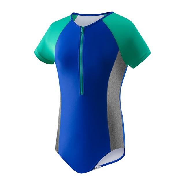 Speedo Begin to Swim Toddler Short Sleeve Zip 1pc Radiant Blue