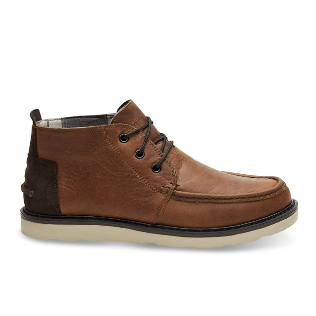 Toms Shoes Chukka Waterproof Brown Pull Up Leather
