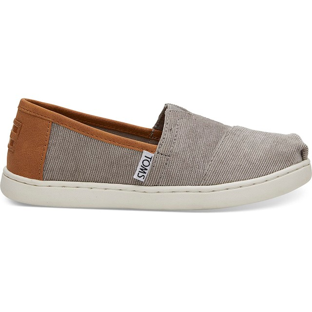 Toms Classic Youth Micro Corduroy/Synthetic Leather Cement