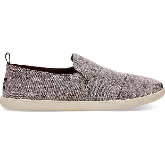 Toms Deconstructed Alpargata Chocolate Brown Slub Chambray