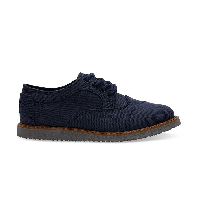 Toms Youth Brogues Navy Aviator Twill