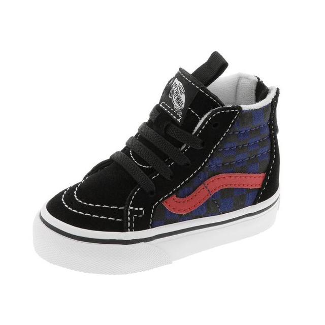 Vans Sk8-Hi Zip Sneakers (Checkerboard) Black/Blue Depth