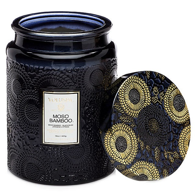 Voluspa Large Embossed Glass Jar Moso Bamboo