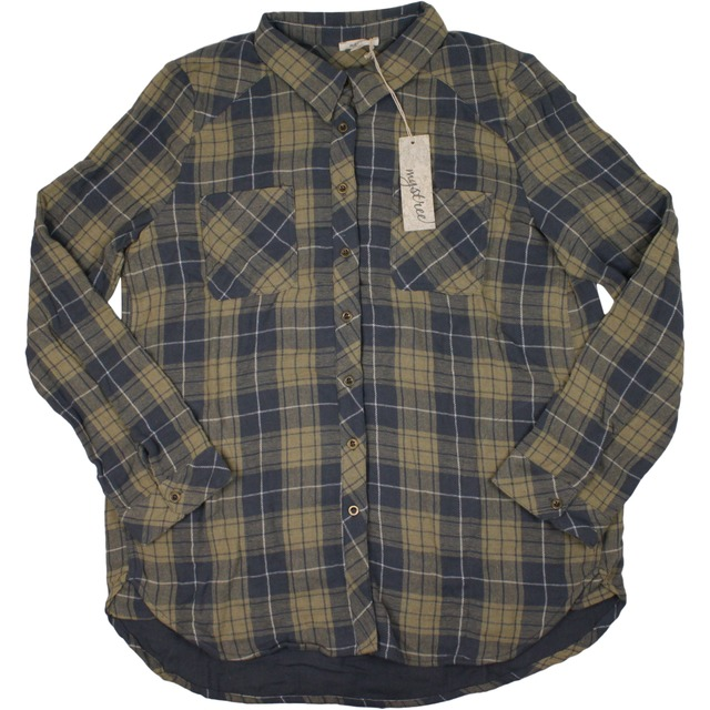 Mystree Washed Plaid Shirt Taupe/Blue
