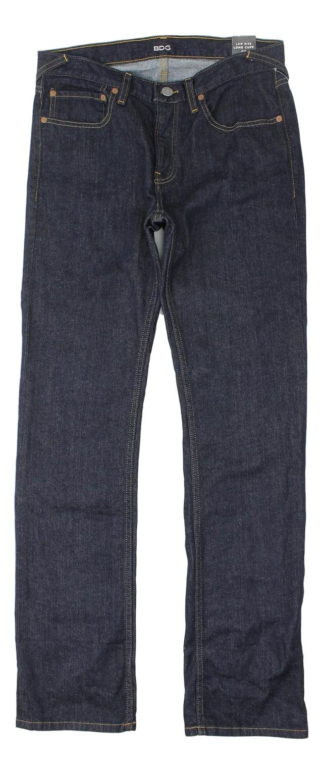 BDG Womens Low Rise Long Cuff Stretch Jean Pants Jeans Dark Blue 27 New
