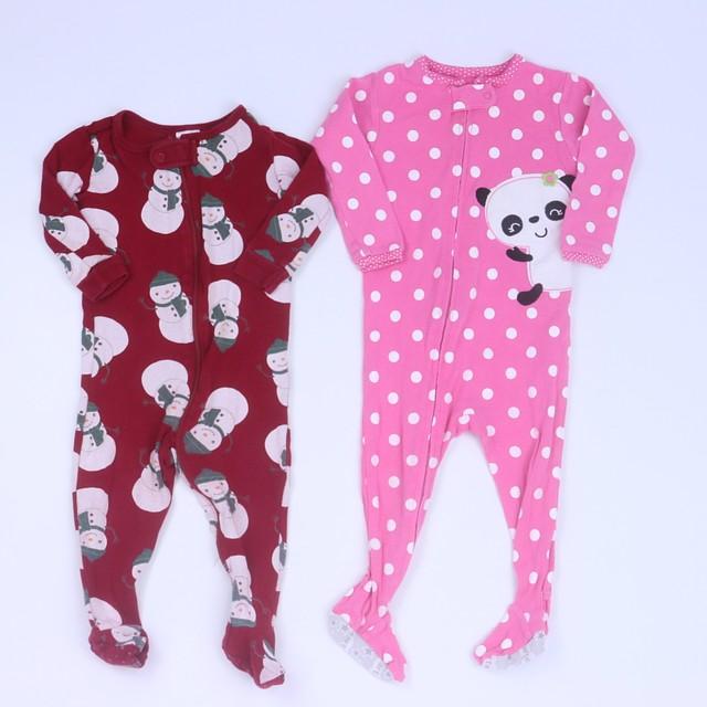 84efb3362 Carter's | Gymboree Set of 2 Red | Pink 1-piece footed Pajamas 6-