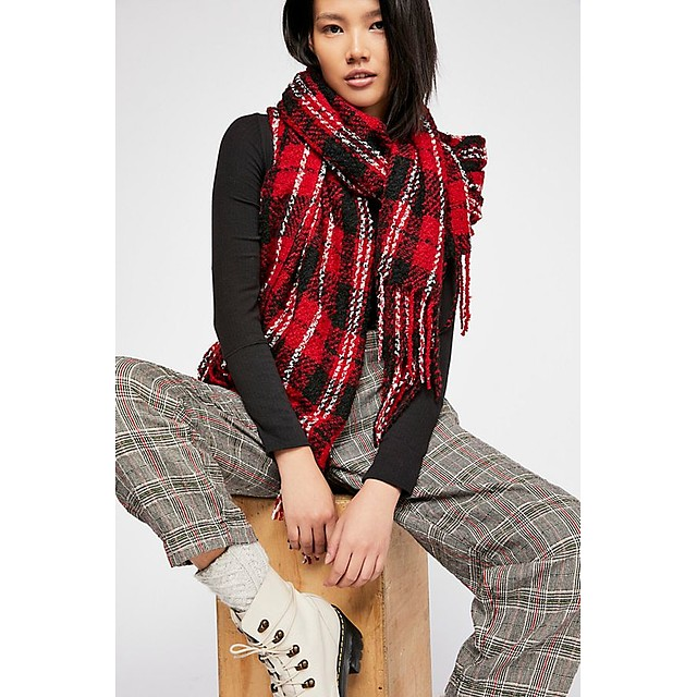 Free People Emerson Plaid Red Combo