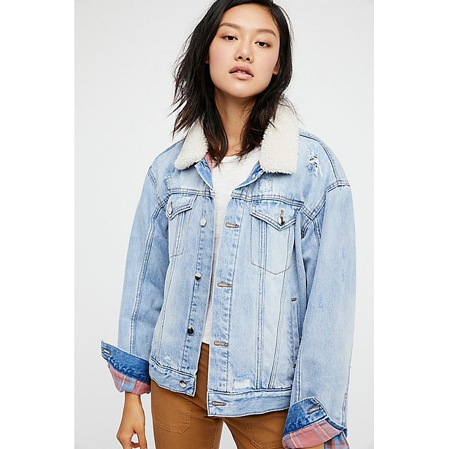 Free People Plaid Lined Sherpa Trucker Indigo Wash