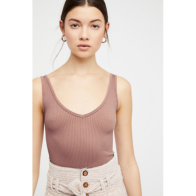 Free People Solid Rib Brami Nude