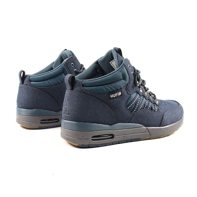 online store 3989b 3e74b ... HUF Mens HR-1 Boot Sneakers Dark Navy Charcoal Grey ...