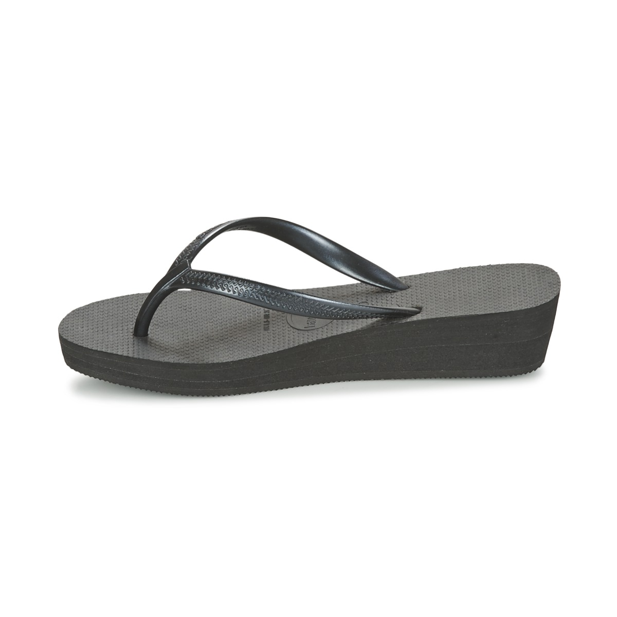 3aa75318ced758 Image is loading Havaianas-Womens-High-Light-Wedge-Thong-FlipFlops-Black-