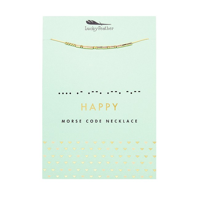 Lucky Feather Morse Code Necklace Gold - Happy