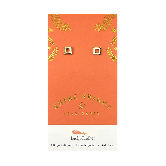 Lucky Feather Shine Bright Earrings X Shape Gold