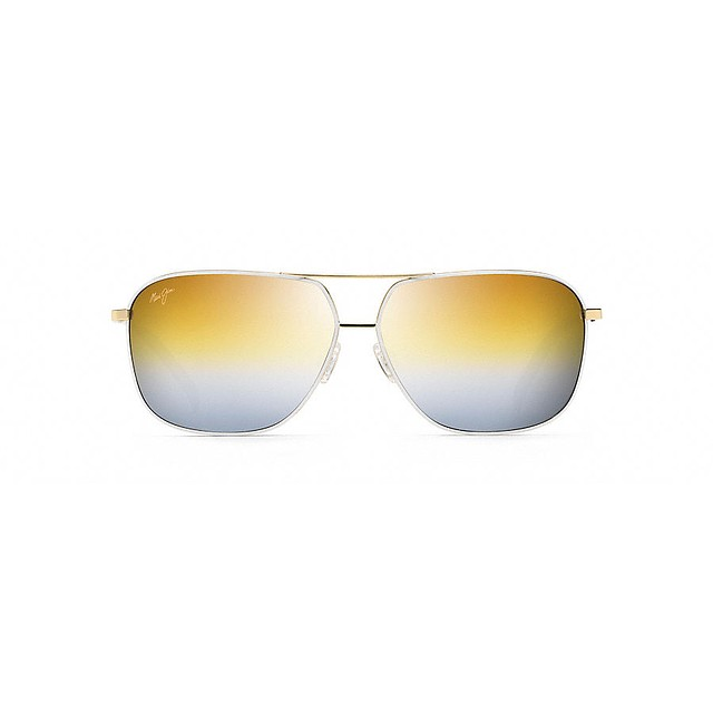Maui Jim Kami Gold w/ White/Dual Mirror Gold/Silver