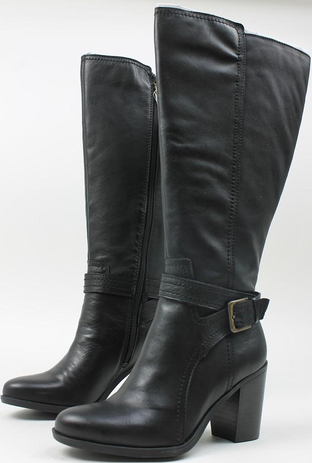 63de65d9da50 Naturalizer Womens Kelsey Leather Wide Calf Boots Black 6 New
