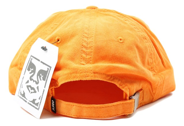 d03a2a5b58b Obey Mens Lindo 6 Panel Snapback Hat Orange Corduroy One Size New