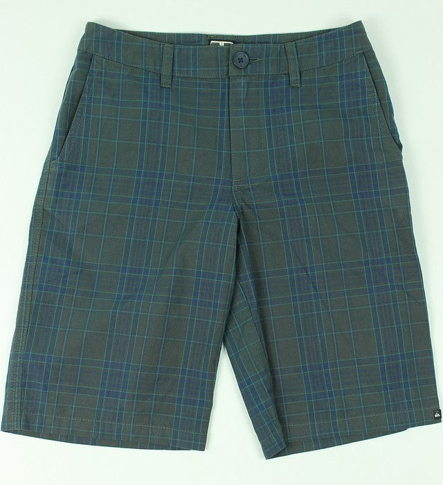 c32fd9f55263d Quicksilver Boys Skinny Bones Cotton Shorts Grey Blue Plaid 26 New ...