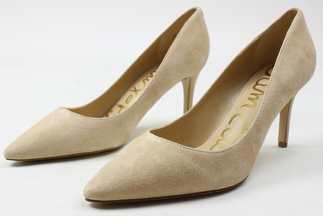 d764e73ef0273 Sam Edelman Womens Tristan Suede Pointed Heels Natural 7.5 New