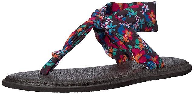 3fd72cd93b51 Details about Sanuk Girls Lil Yoga Sling Sandals Black Waikiki Floral 11 12  New