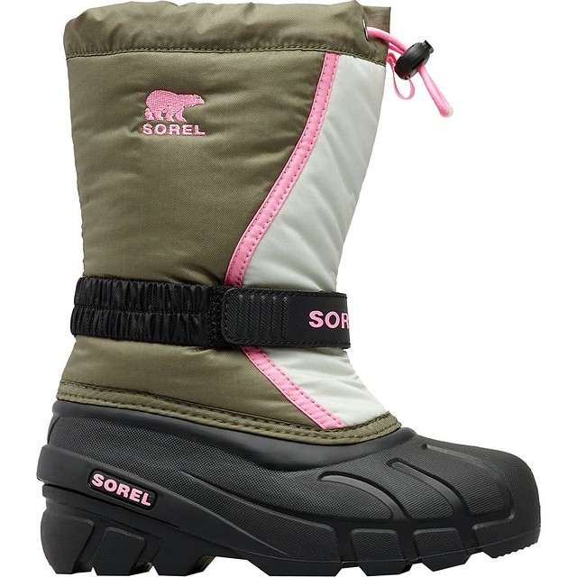 Sorel G Toddler Flurry Boots Hiker Green / Bubblegum