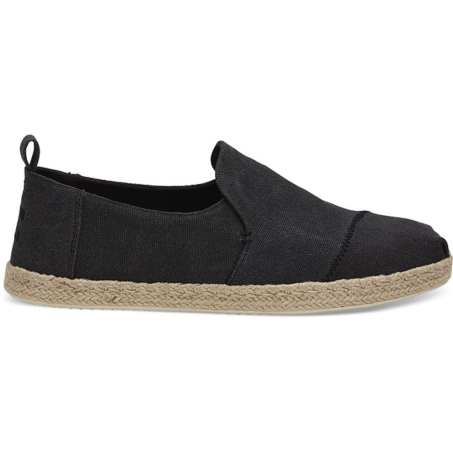 TOMS Men's Deconstructed Alpargata Rope Black Washed Canvas