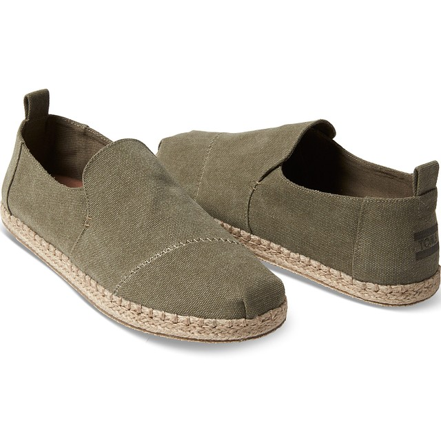 Men's Deconstructed Alpargata Rope - Olive Washed Canvas