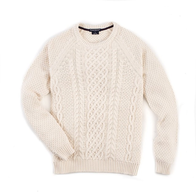 Tailor Vintage Fisherman Cable Crewneck Natural