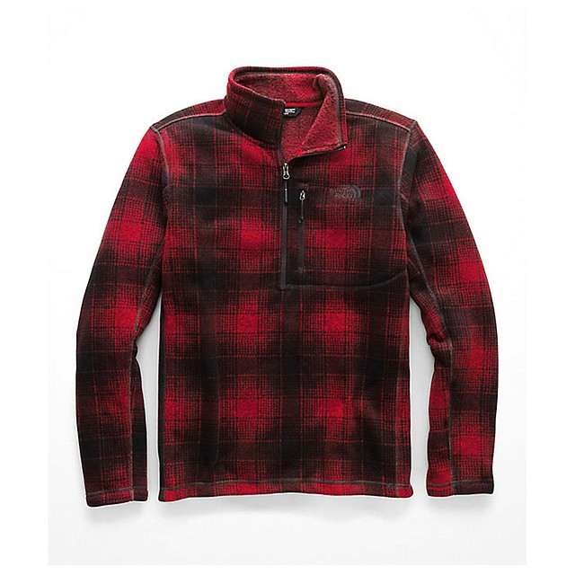 The North Face Novelty Gordon Lyons 1/4 Zip Rage Red Ombre Plaid Print