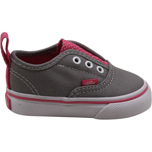 Toddler Authentic V - (Polka Dots) Frost Gray/ Hot Pink