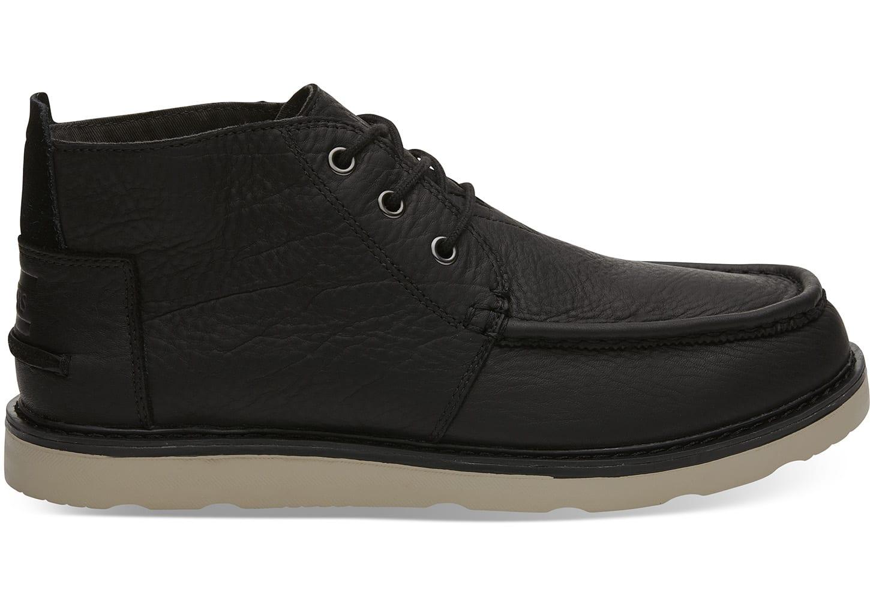 black leather chukka