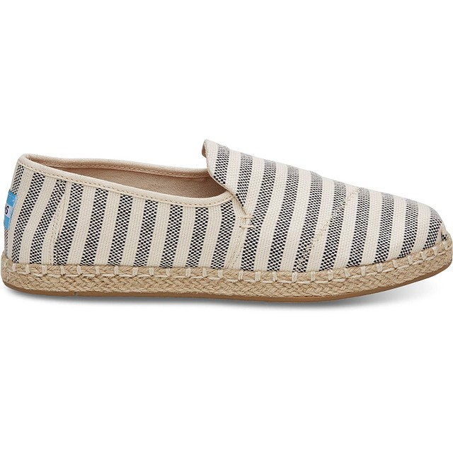 Toms Deconstructed Alpargata Rope Black Woven Stripe