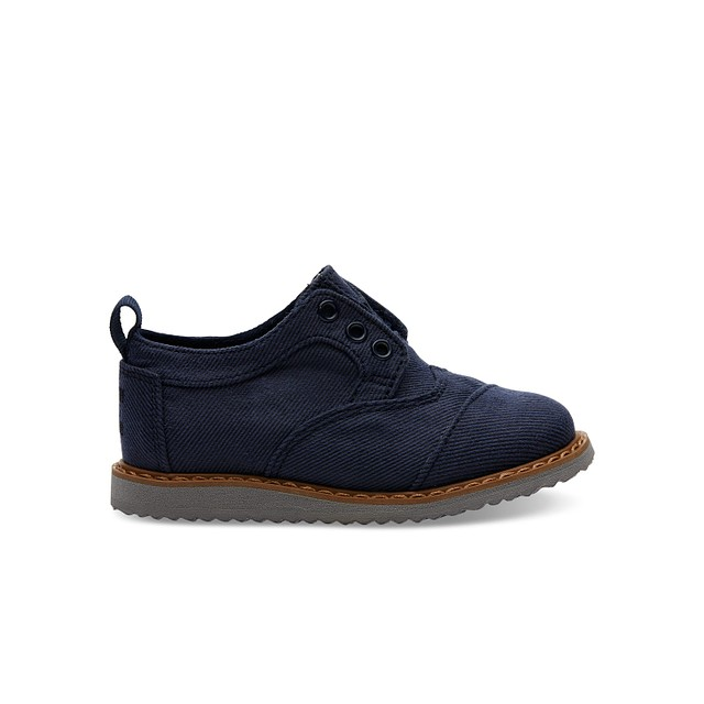 Toms Tiny Brogues Navy Aviator Twill