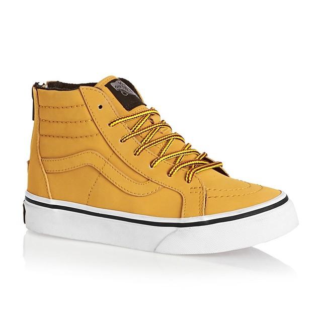 b5e50d2bd6 Vans Kids SK8-HI Zip Sneakers Honey Leather 11.5 New