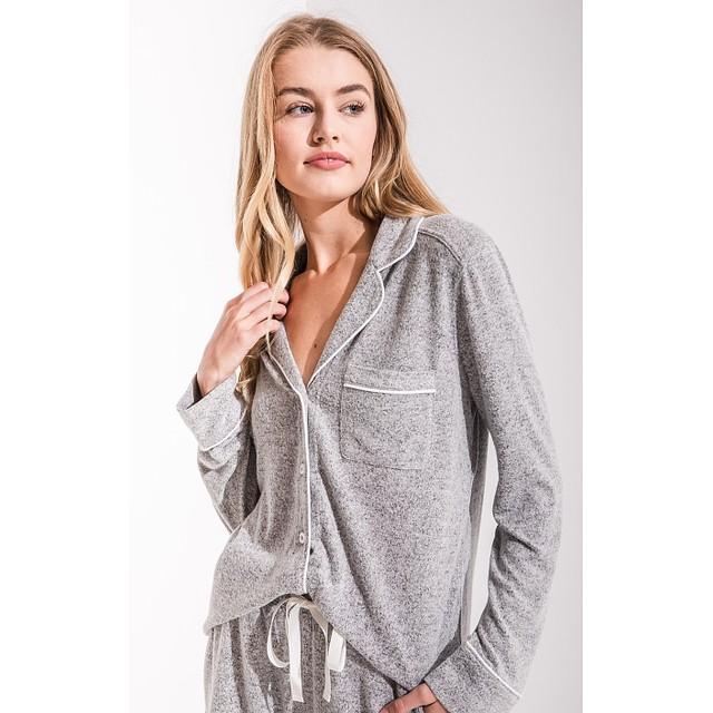 Z Supply The Menswear Pajama Shirt Heather Grey