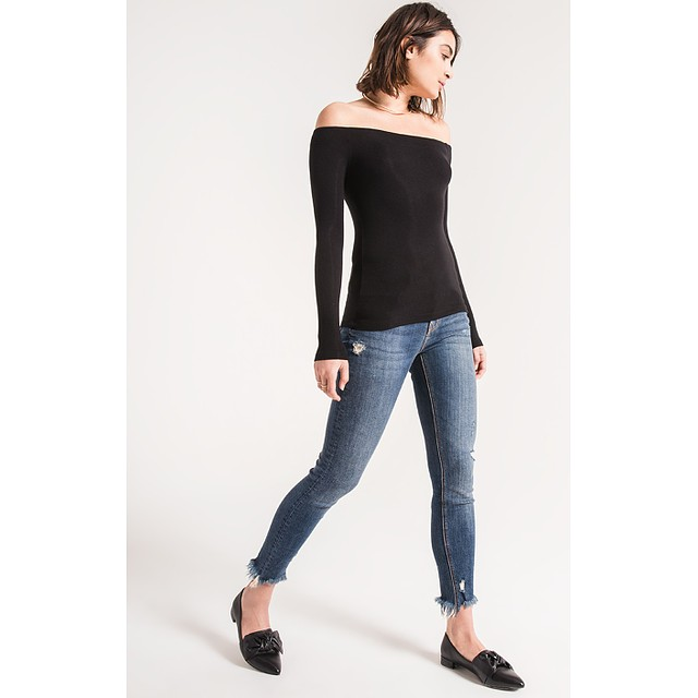 Z Supply The Ribbed Off The Shoulder Black