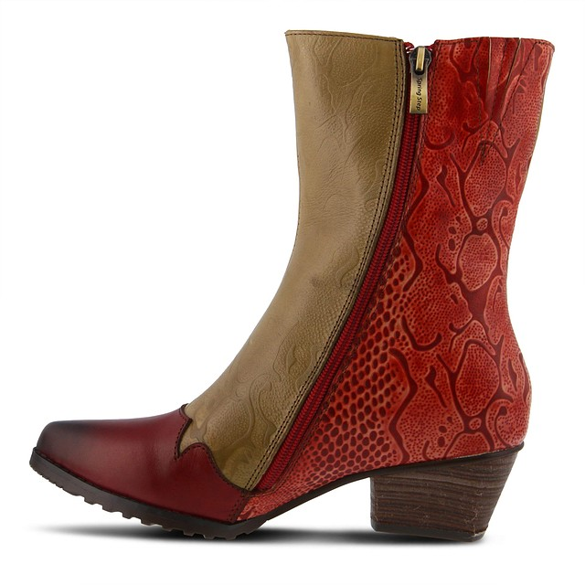 NEW Lartiste Chikie Boots Red Multi 40 Euro WITH BOX Women US 9