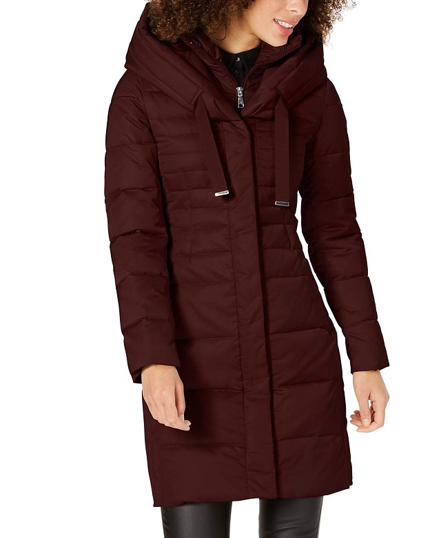 Tahari Women/'s Leon Burgundy Merlot Down Belted Puffer Coat